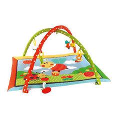 "Развивающий коврик ""Пчёлка Бизи и мёд"" с 5-ю развивающими игрушками, шуршалкой и пищалкой Жирафики"