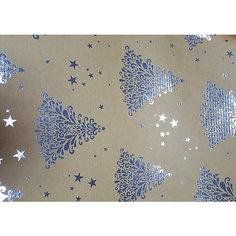 Крафт бумага Серебряные елочки для сувенирной продукции в листах Magic Time