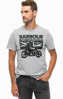 Серая футболка из хлопка с принтом Barbour