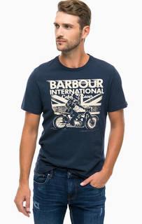 Синяя футболка из хлопка с принтом Barbour