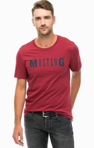 Бордовая хлопковая футболка с принтом