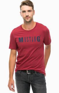 Бордовая хлопковая футболка с принтом Mustang