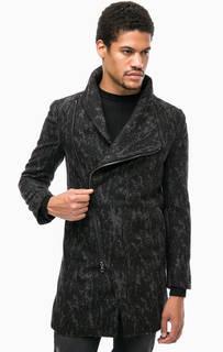 Черное пальто с высоким содержанием шерсти Religion