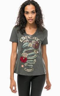 Серая хлопковая футболка с принтом Religion