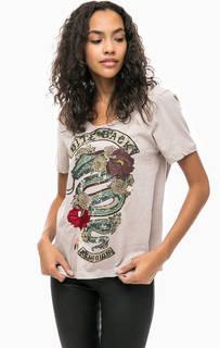 Хлопковая футболка с принтом и вышивкой Religion