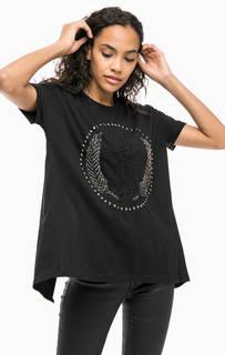 Черная хлопковая футболка с открытой спиной Religion