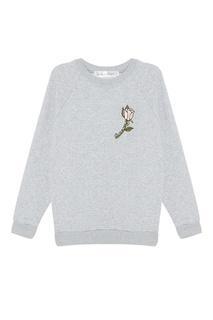 Меланжевый свитшот с вышивкой Girls In Bloom