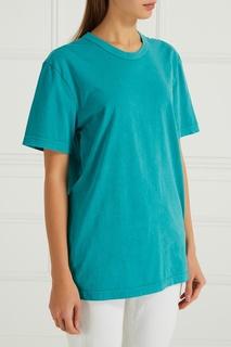 Бирюзовая футболка из хлопка James Perse