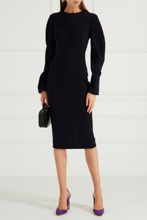 Синее шерстяное платье Victoria Beckham