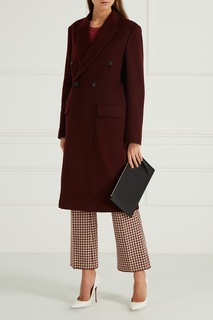 Шерстяное пальто бордовое Victoria Beckham