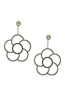Серьги-цветы с зелеными кристаллами Ruby Novich