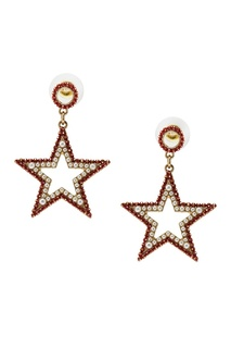 Серьги-звезды с красными кристаллами Ruby Novich