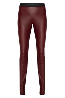 Бордовые кожаные брюки Dro Me