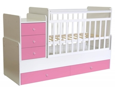 Кроватка-трансформер Фея 1100 поперечный маятник, 5 ящиков белый/розовый