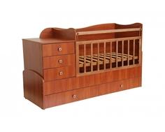 Кроватка-трансформер Фея 1400 комод, пеленальный столик, 2 ящика орех