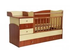 Кроватка-трансформер Фея 1400 комод, пеленальный столик, 2 ящика орех/лимонный