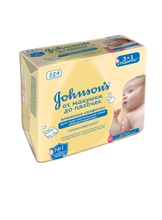Влажные салфетки Johnsons baby «От макушки до пяточек» без отдушки 224 шт.