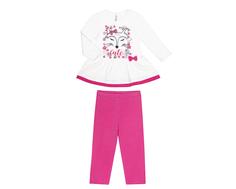 Комплект для девочки туника и брюки трикотажные для девочки Barkito «Сказочный лес 1», туника молочная, брюки розовые