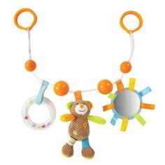 Подвеска Жирафики «Мишка Вилли» с погремушкой, зеркальцем и мягкой игрушкой