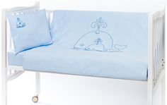 Комплект постельного белья Якимок «Киты» 3 пр. с вышивкой сатин