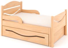Кроватка Дом бука «Ростушка 2» 70 см с бортиками, ящиком и матрасом, лакированный бук