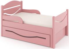 Кроватка Дом бука «Ростушка 2» 70 см с бортиками, ящиком и матрасом, розовый