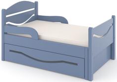 Кроватка Дом бука «Ростушка 2» 70 см с бортиками, ящиком и матрасом, голубой