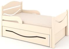 Кроватка Дом бука «Ростушка 2» 80 см с бортиками, ящиком и матрасом, слоновая кость