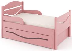 Кроватка Дом бука «Ростушка 2» 80 см с бортиками, ящиком и матрасом, розовый