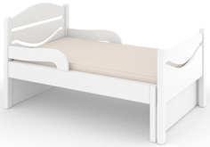 Кроватка Дом бука «Ростушка-Простушка» 70 см с бортиками и матрасом, белый