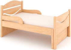 Кроватка Дом бука «Ростушка-Простушка» 80 см с бортиками и матрасом, лакированный бук