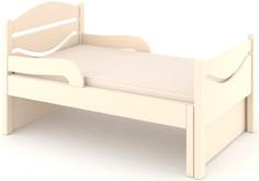 Кроватка Дом бука «Ростушка-Простушка» 80 см с бортиками и матрасом, слоновая кость