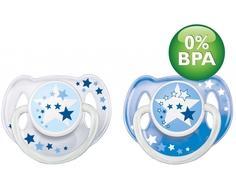 Пустышка Philips AVENT «Ночная» силиконовая, ортодонтическая 6-18 мес., 2 шт. в ассортименте