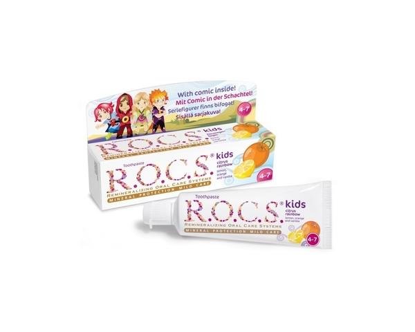 Детская зубная паста R.O.C.S. kids 45 мл с 4 до 7 лет