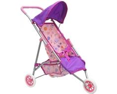 Коляска для куклы Mami «Трость» трехколесная розово-лиловая