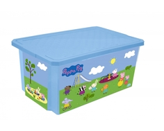 Ящик для игрушек Little Angel «X-BOX Свинка Пеппа» на колесах голубой 57 л