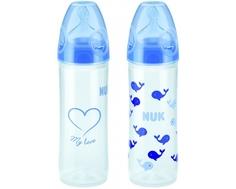 Набор бутылочек с силиконовой соской NUK «New Classic» с 6 мес 250 мл, голубой, 2 шт.