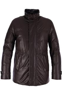 Кожаная куртка с ветрозащитной планкой Cortigiani