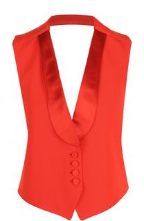 Приталенный шерстяной жилет с открытой спиной Givenchy