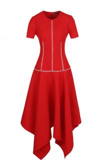 Приталенное платье-миди из смеси шерсти и шелка Alexander McQueen