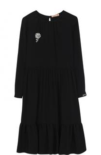 Платье свободного кроя с брошью No. 21