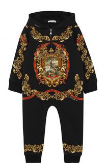Хлопковый комбинезон с принтом и капюшоном Dolce & Gabbana