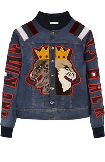 Джинсовая куртка с эластичными манжетами и аппликациями Dolce & Gabbana