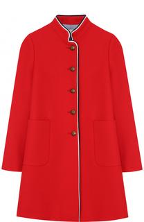 Шерстяное пальто с контрастной отделкой Gucci
