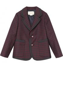 Шерстяной однобортный пиджак в клетку с отделкой Gucci