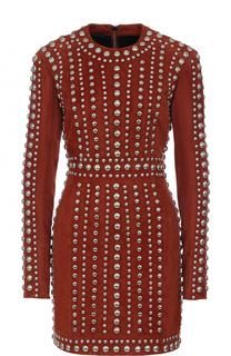 Приталенное мини-платье с контрастными заклепками Balmain