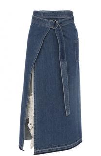 Джинсовая юбка-миди с потертостями Sacai