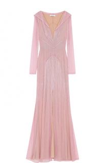 Приталенное платье-макси с высоким разрезом и вышивкой бисером Blumarine