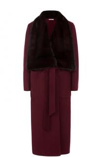 Кашемировое пальто с поясом и отделкой из меха норки Kiton