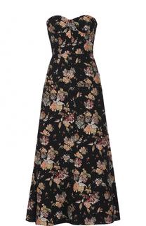 Платье-бюстье с цветочной отделкой Rochas
